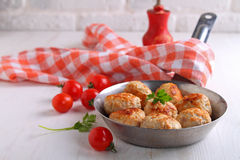 Meat balls (cutlets) from turkey meat Royalty Free Stock Photography