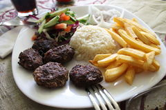 Meat balls with garnish Turkish national cuisine Stock Images