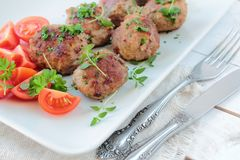 Meat balls with herbs Royalty Free Stock Photos