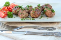Meat balls with herbs Royalty Free Stock Photography