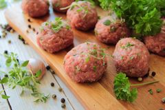 Meat balls with herbs Royalty Free Stock Images