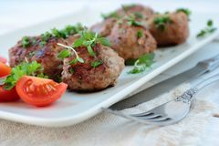 Meat balls with herbs Stock Photo