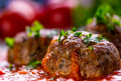Meat balls. Italian and Mediterranean cuisine. Meat balls with s Stock Photo