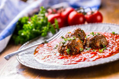 Meat balls. Italian and Mediterranean cuisine. Meat balls with s Stock Images