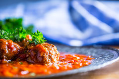 Meat balls. Italian and Mediterranean cuisine. Meat balls with s Royalty Free Stock Photography