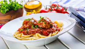 Meat balls. Italian and Mediterranean cuisine. Meat balls with s. Paghetti and tomato sauce. traditional kitchen Royalty Free Stock Photo