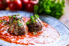 Meat balls. Italian and Mediterranean cuisine. Meat balls  Royalty Free Stock Photography