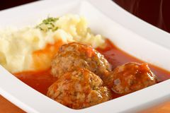 Meat balls and mashed potato Stock Photos