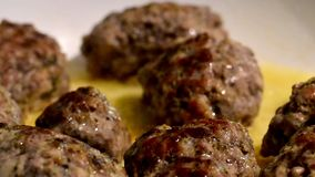 Meat balls of minced beef and pork stock video footage