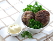 Meat balls with mustard Royalty Free Stock Image
