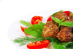 Meat Balls On Basil Leaf Stock Photo