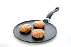 Meat balls in a pan. And a white background Royalty Free Stock Images
