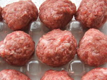 Meat balls in plastic container Royalty Free Stock Photos