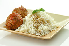 Meat balls with rice Stock Images