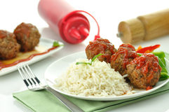 Meat balls with rice Royalty Free Stock Photography