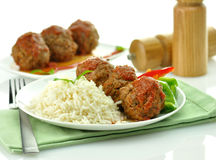 Meat balls with rice Stock Photography