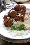 Meat balls with rice Royalty Free Stock Photo