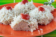 Meat balls with rice on plate Stock Image