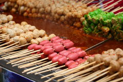 Meat balls and sausages Royalty Free Stock Images