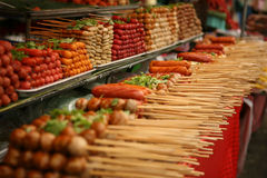 Meat balls and sausages on stick, Bangkok, Thailand Stock Image