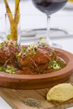Meat Balls served with sauce on hot plate Stock Images