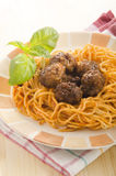 Meat balls with spaghetti and tomato sauce Royalty Free Stock Photo