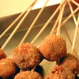 Meat balls on a stick royalty free stock photos