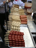 Meat balls on stick in sauce, traditional Thailand Stock Photography