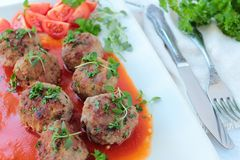 Meat balls with tomato sauce Royalty Free Stock Photos