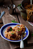 Meat balls in tomato sauce with spaghetti. Royalty Free Stock Photography