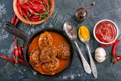 Meat balls with sauce royalty free stock images