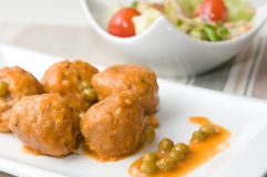 Meat balls in white plate Royalty Free Stock Images