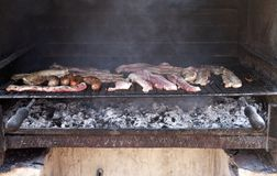 Meat barbacue. Barbecue of pork close up ,outside, with carbon Stock Photo