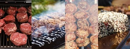 Meat barbecue collage royalty free stock image