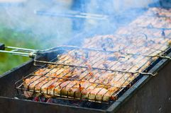 Meat barbecue on the grill. royalty free stock photography