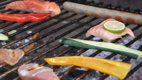 Meat on barbecue grill stock footage