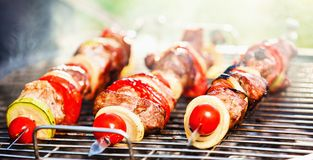 Meat on barbecue grill Stock Photos