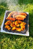 Meat on a barbeque Stock Images