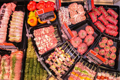 Meat for barbeque. Sausages ready bbq skewers Royalty Free Stock Photo