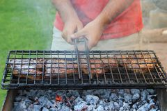 Meat on a barbeque stock photo