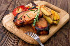 Meat barbeque with vegetables and spices Stock Photo