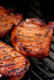 Meat on the BBQ. Meat on the barbecue with grillmarks stock photo