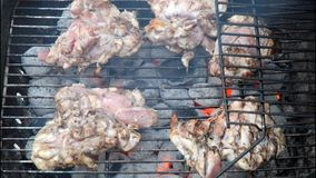 Meat on BBQ grill stock footage
