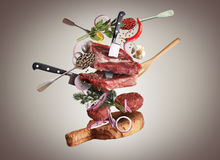 Meat. And beef balls with vegetables and utensils Royalty Free Stock Photo