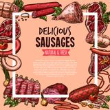 Meat, beef and pork sausage poster, food design. Meat, beef and pork sausage poster. Fresh beef steak, barbecue sausage, pork chop and rib, salami, ham and bacon Royalty Free Stock Photo