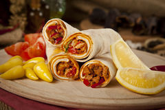 Meat beef tantuni is a kind of traditional turkish kebap. Stock image Royalty Free Stock Photo