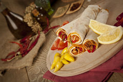 Meat beef tantuni is a kind of traditional turkish kebap. Stock image Stock Image