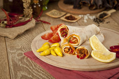 Meat beef tantuni is a kind of traditional turkish kebap. Stock image Royalty Free Stock Photography