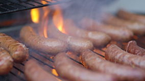 Meat being grilled on barbeque stock video footage