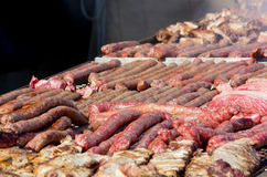 Meat on a Big Grill Stock Photography